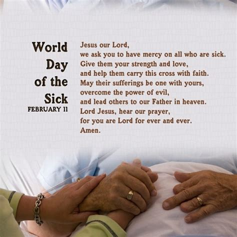 prayer for sick prayer for the world day of sick prayers