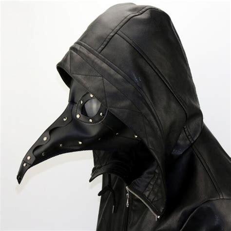 steampunk faux leather black bubonic plague doctor masks