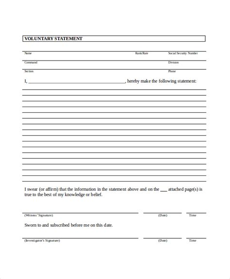witness statement template statement template 11 free word pdf document