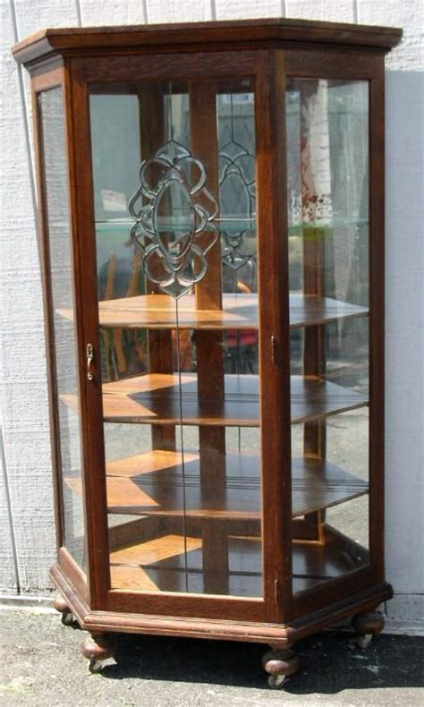 Glass Door China Cabinet Oak Slant Sided China Cabinet With Leaded Glass Door Ebay