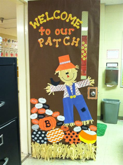 fall door decorations for school quot welcome to our patch quot write your students names on the