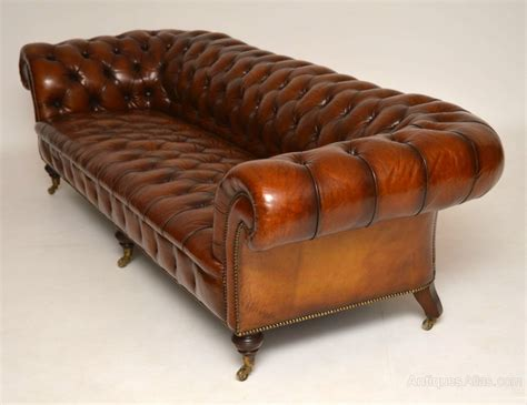 antique leather settee large antique victorian leather chesterfield sofa