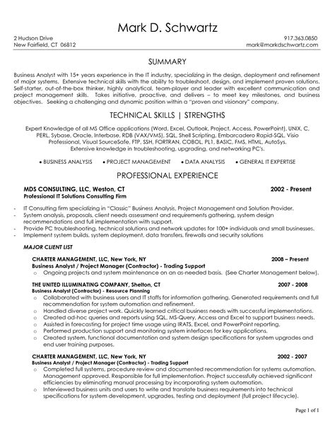 Business Analyst Resume Summary by 10 Business Analyst Resume Sle Slebusinessresume