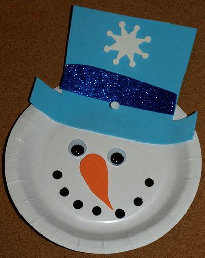 Snowman Paper Plate Craft - preschool crafts for winter adding this project to
