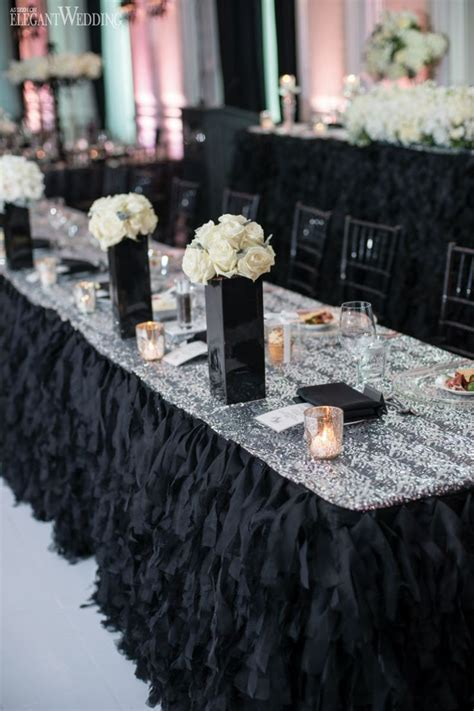 53 Black White And Pink Wedding Table Settings, Black And