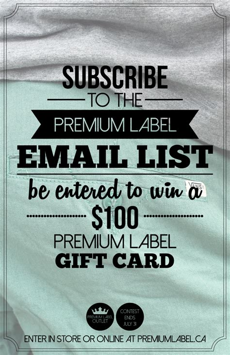 Outlet Gift Card - premium labelenter to win a premium label outlet gift card