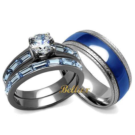his hers blue wedding rings set s 3 24 ct rings