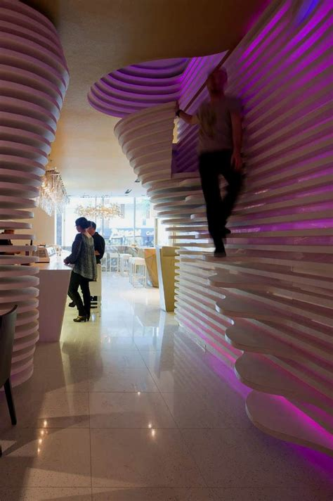 futuristic interior design cafe modern japanese restaurant with innovative light effect