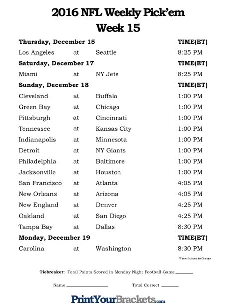 Nfl Week 16 Printable Schedule