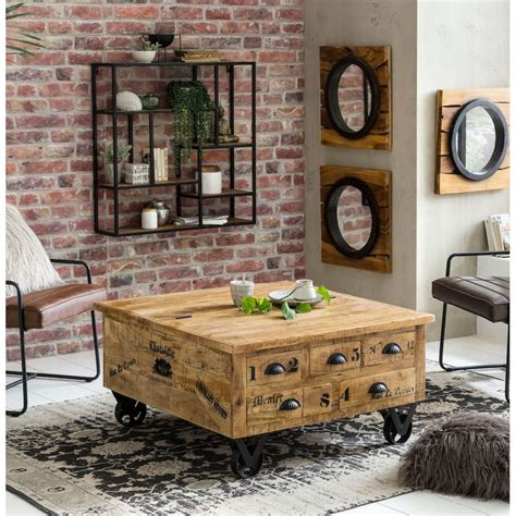 storage coffee table trunk rustic solid wood