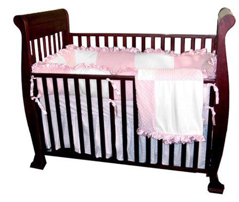 minky dots pink four crib set