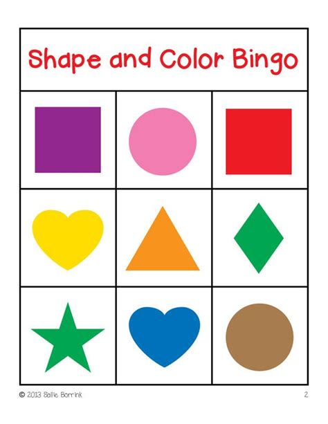 Card Shapes Templates by Shapes And Colors Bingo Cards 4x4 Bingo