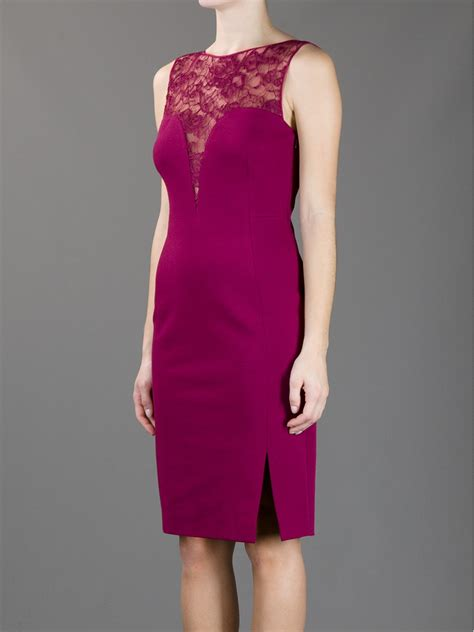 Wst 10875 Side Lace Panels Gown lyst emilio pucci lace panel dress in purple