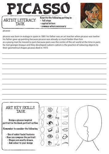 printable art history worksheets picasso worksheet with literacy task for my future