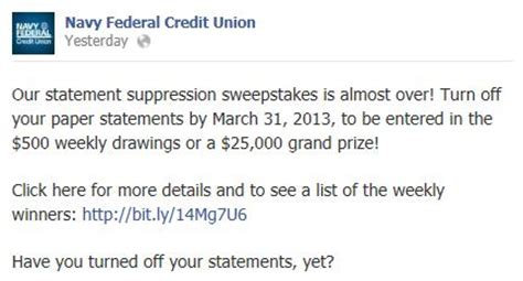 Credit Union Sweepstakes - checking in on banking social promotions media logic