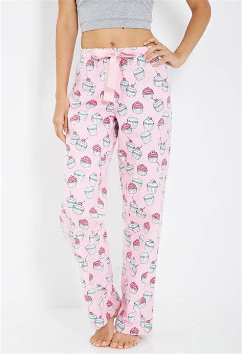 Muffin Piyama Cotton Pajamas forever 21 cupcake print flannel pj in pink lyst