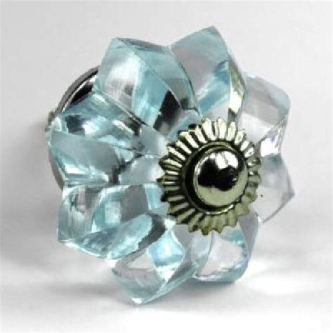 small blue drawer knobs cabinet hardware chrome vintage