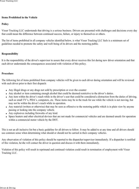 Download Visser Trucking Company Safety Policy Template For Free Page 105 Formtemplate Trucking Policy And Procedures Template