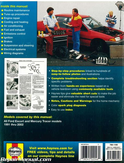 automotive service manuals 1992 mercury tracer user handbook 1991 2002 ford escort and mercury tracer automobile repair manual by haynes