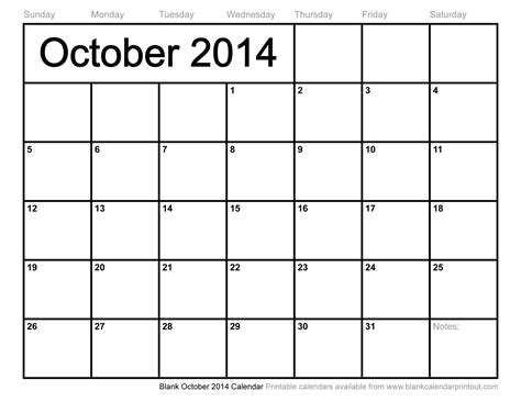 blank october 2014 calendar calendar template 2016