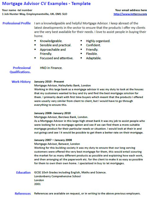 mortgage advisor cv   template lettercvcom