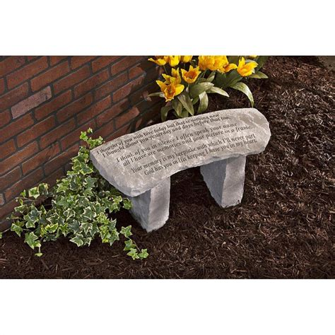 stone memorial bench in our hearts forever cast stone memorial garden bench