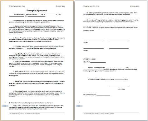 ms word prenuptial agreement template free agreement