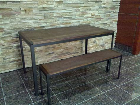 metal base bench hand made reclaimed walnut table and bench with metal base