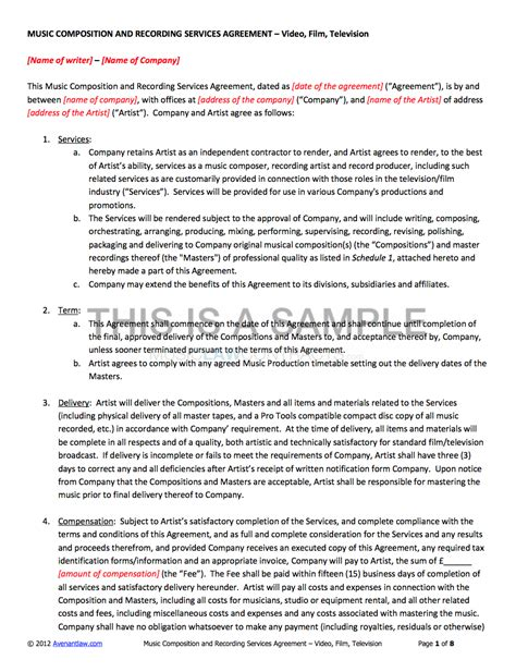 co production agreement template composition and recording service contract template