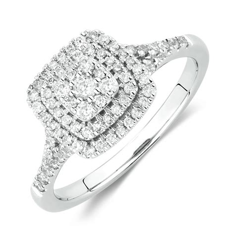 White Gold Engagement Rings by Engagement Ring With 1 2 Carat Tw Of Diamonds In 10kt