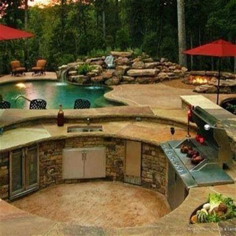 dream backyard ideas love the circular bbq outdoor kitchen and the built in