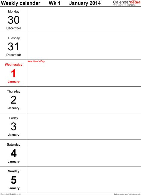 page a day calendar template weekly calendar 2014 uk free printable templates for pdf