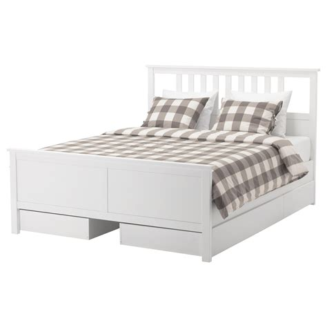 hemnes bed frame with 4 storage boxes white stain lur 246 y - Bett 90x180