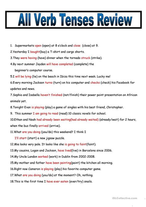tenses review all tenses review with key worksheet free esl printable