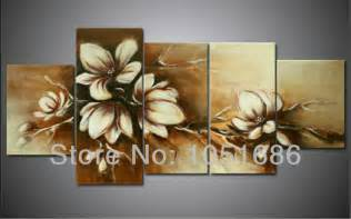 Brown Wall Decor by Modern Abstract Painted 5 Pieces Large Wall