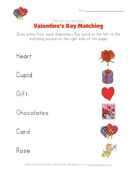 printable worksheets valentine s day valentine s day matching worksheet