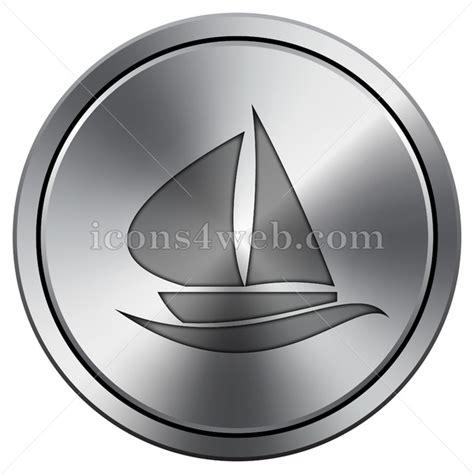 round sailboat sailboat icon round icon imitating metal
