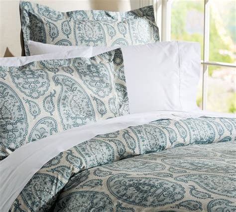 organic bedding sale ashlyn paisley organic duvet cover sham blue pottery