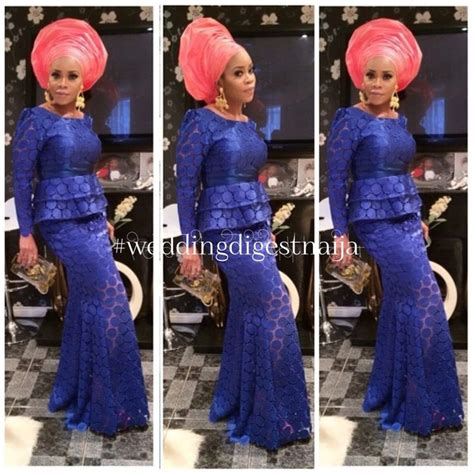 Nigerian African Lace Styles In Skirt And Top | nigerian wedding aso ebi styles blue long sleeve lace top