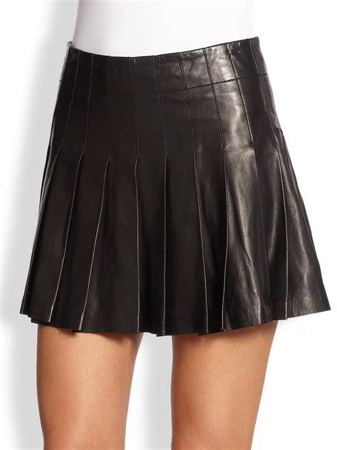 pleated leather mini skirt in black lyst