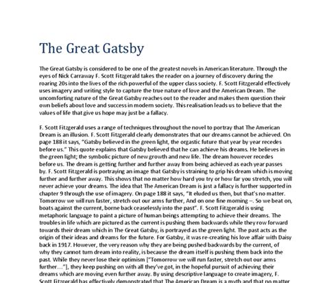 The Great Gatsby The American Essay by Thesis Exles Great Gatsby