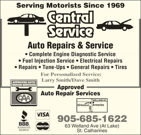 car service ad central auto service opening hours 63 welland ave st