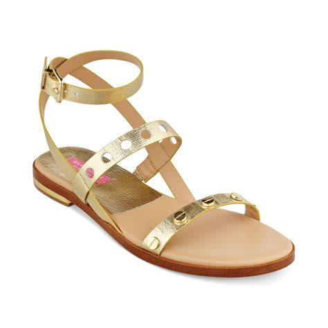 isaac mizrahi sandals isaac mizrahi new york stroll flat sandals in gold lyst