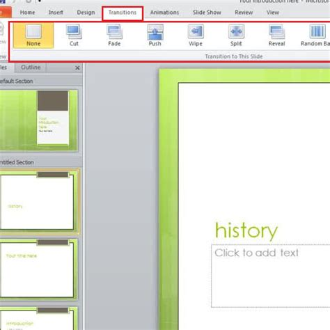 powerpoint tutorial transitions how to apply slide transitions in a powerpoint