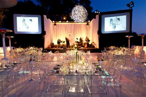 Modern glass tables   ghost chairs /// #wedding #party #
