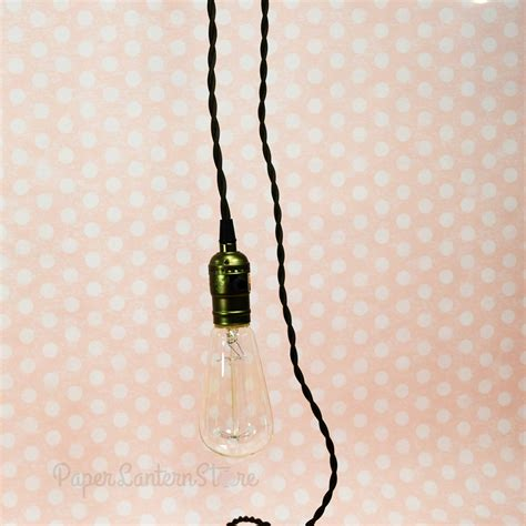 Pendant Light Wire Kit Single Copper Socket Pendant Light L Cord Kit W Dimmer 11ft Ul Approved Brown Cloth On