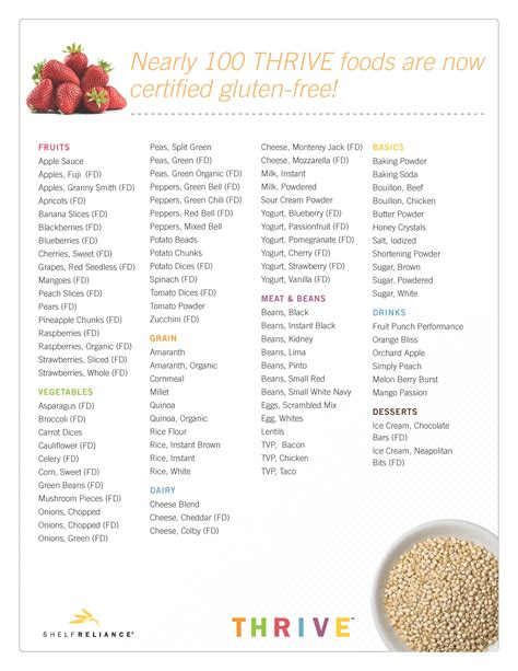 gluten free food 98 certified gluten free foods save on thrive freeze dried foods