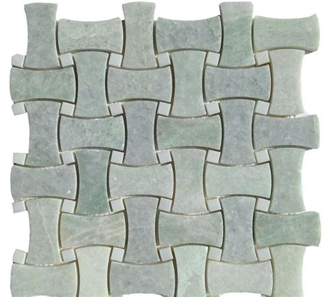 mosaic pattern bone ming green basket weave curved pattern marble mosaic 12x12