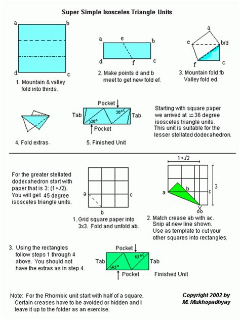 Origami Diagrams Compound Of Dodecahedron And Great - isosceles triangle unit