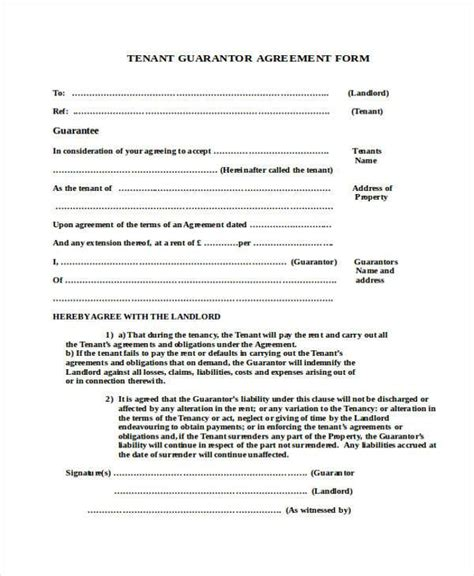 rent guarantor form template sle guarantor agreement forms 8 free documents in